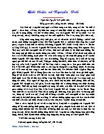 Ngữ văn 10 - Bài: Giới thiệu về Nguyễn Trãi