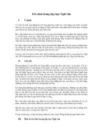 Trò chơi trong dạy học Ngữ văn